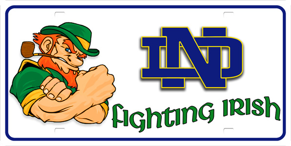 Notre Dame Fighting Irish License Plate Notre Dame Fighting Irish 596x300