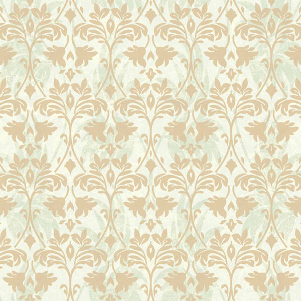 Green and Gold Drybrush Damask Wallpaper   Wall Sticker Outlet 600x600