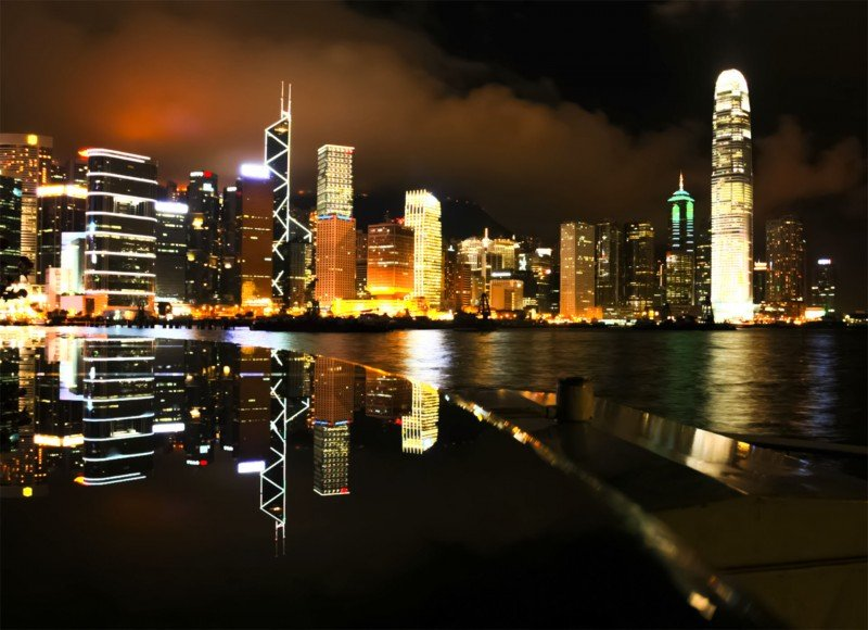 Home Hong Kong City Lights Night Skyline Wallpaper Mural 800x580