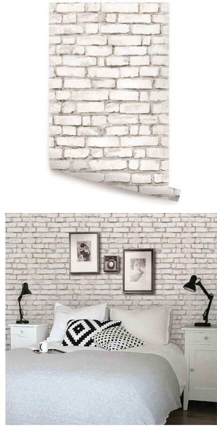 Brick White Peel and Stick Wallpaper   Wall Sticker Outlet 441x868