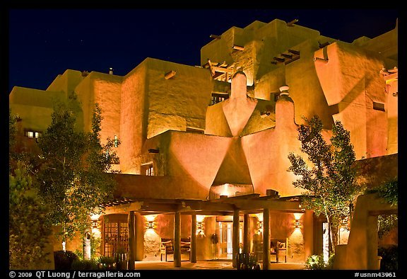 PicturePhoto Loreto Inn by night Santa Fe New Mexico USA 576x394