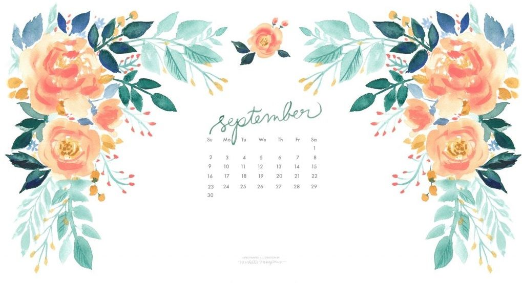 Floral September 2018 Calendar Wallpapers Laptop Wallpaper in 1019x553