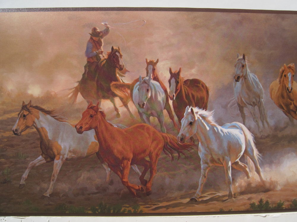 COWBOYS HORSES ROPING OLD WEST Wallpaper Border 9 eBay 1000x750