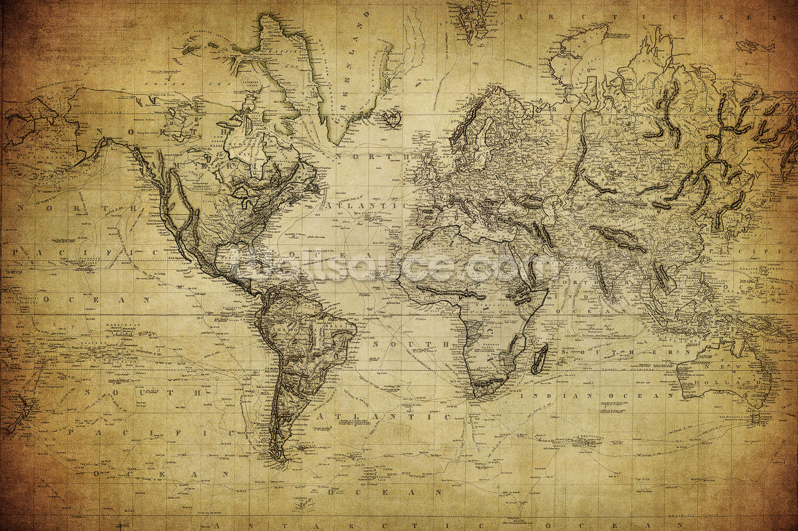 Century Vintage Map Wall Mural 19th Century Vintage Map Wallpaper 1600x1065