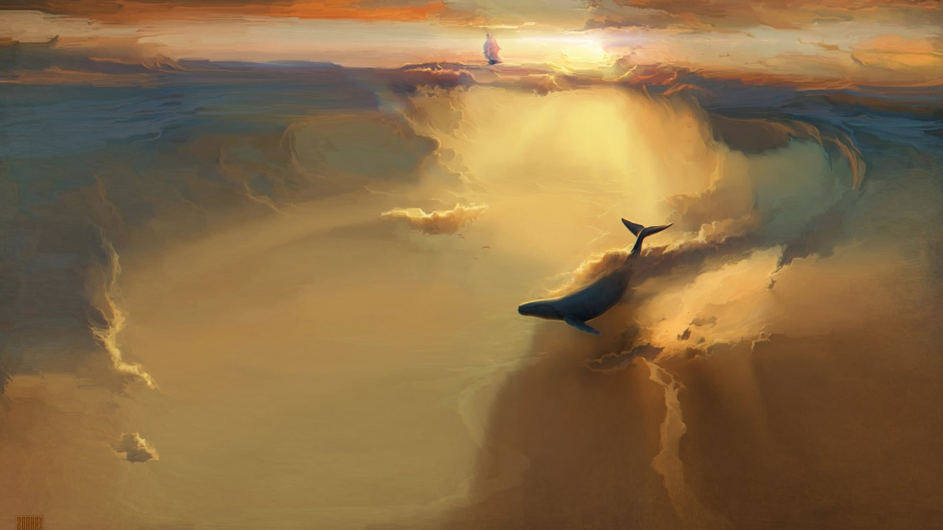 Wallpaper whale flying in the clouds FlyingWhales 1920x1080