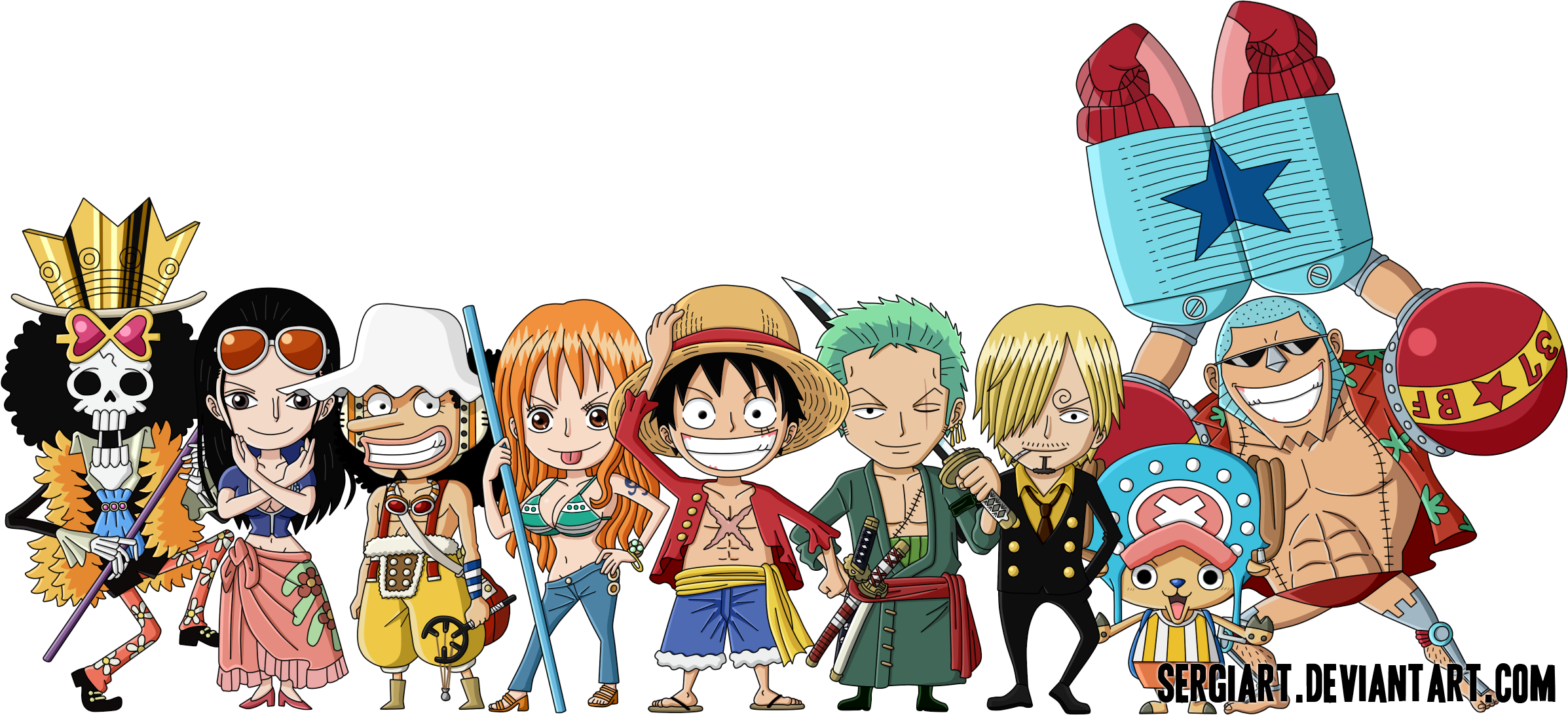 Chibi Straw Hat Pirates by SergiART 2394x1091
