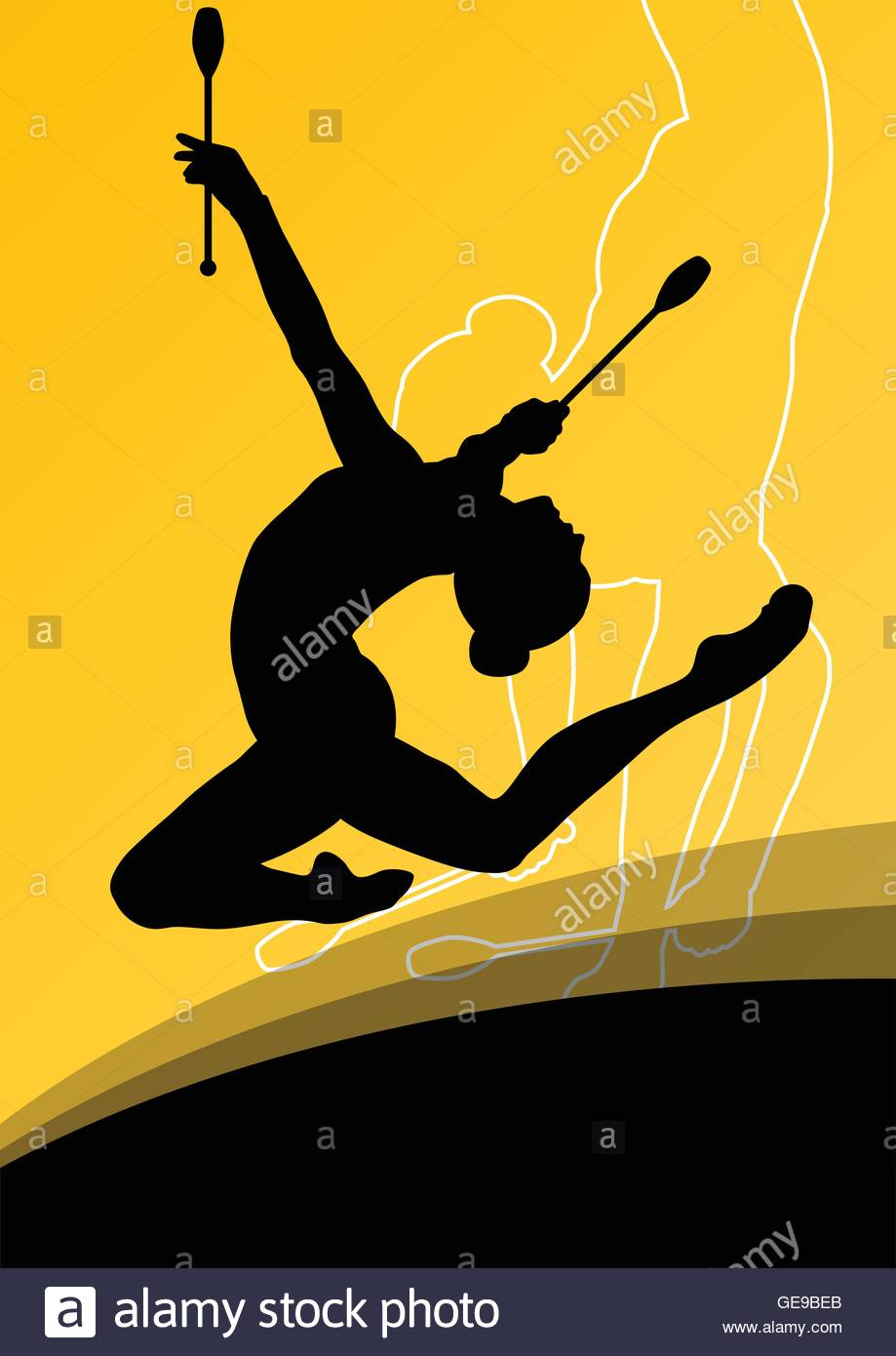 Active young women calisthenics sport gymnasts silhouettes with 919x1390
