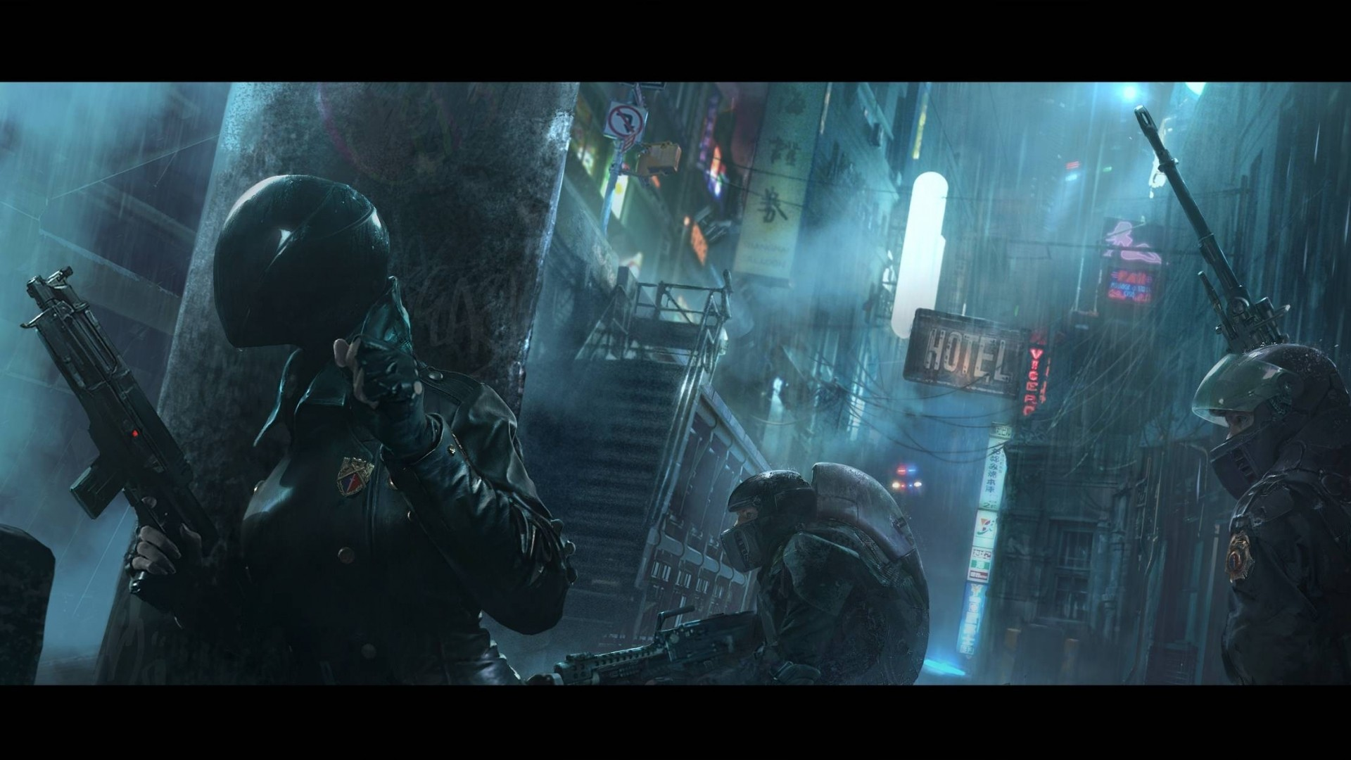 Women Warrior Artwork Sword Rain Cyberpunk Cyberpunk: Cyberpunk Wallpaper