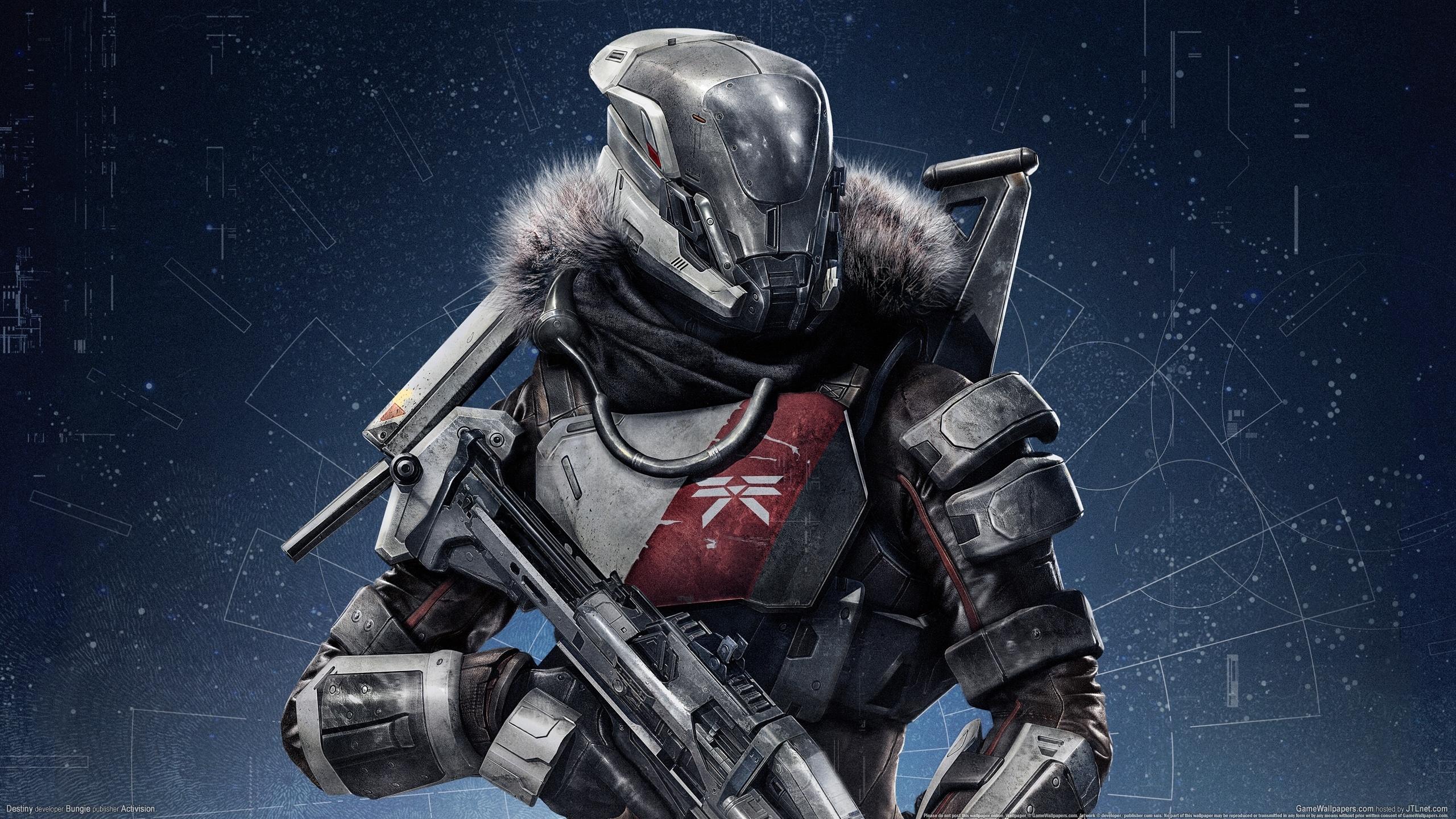 Destiny Warrior Armor sci fi cyborg robot weapon gun wallpaper 2560x1440