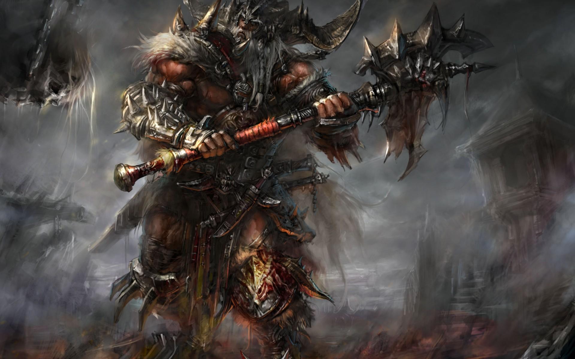 Diablo barbarian armor blood horns spikes ax undead warriors wallpaper 1920x1200