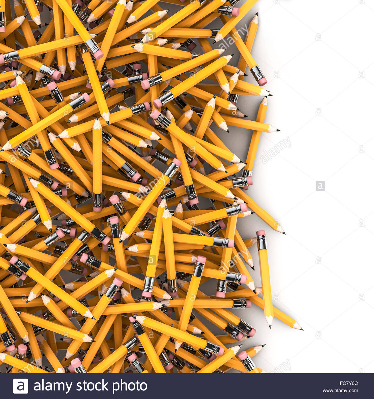 Pencil spill background 3D render of hundreds of yellow pencils 1300x1390