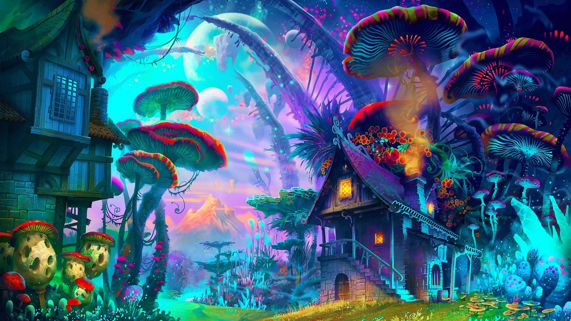 fantasy Art Drawing Nature Psychedelic Colorful House 1920x1080