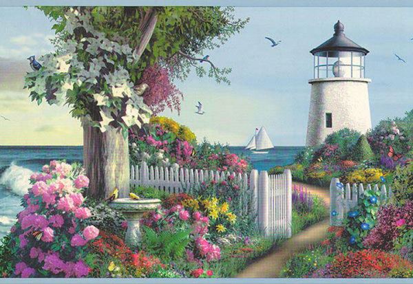Discontinued Wallpaper Border Garden with Lighthouse ThriftyFun 600x413