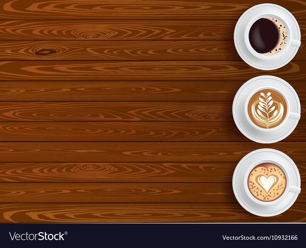 Wooden Background And Coffee Cups Composition Vector Image 1000x811