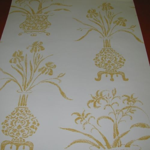 Hinson and Co Gold Flowerpots Wallpaper 45 A Triple Roll eBay 500x498