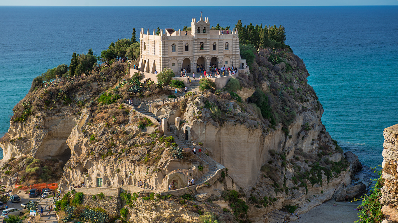 Photos Italy Tropea Cliff Stairs Cities Building 1366x768 1366x768