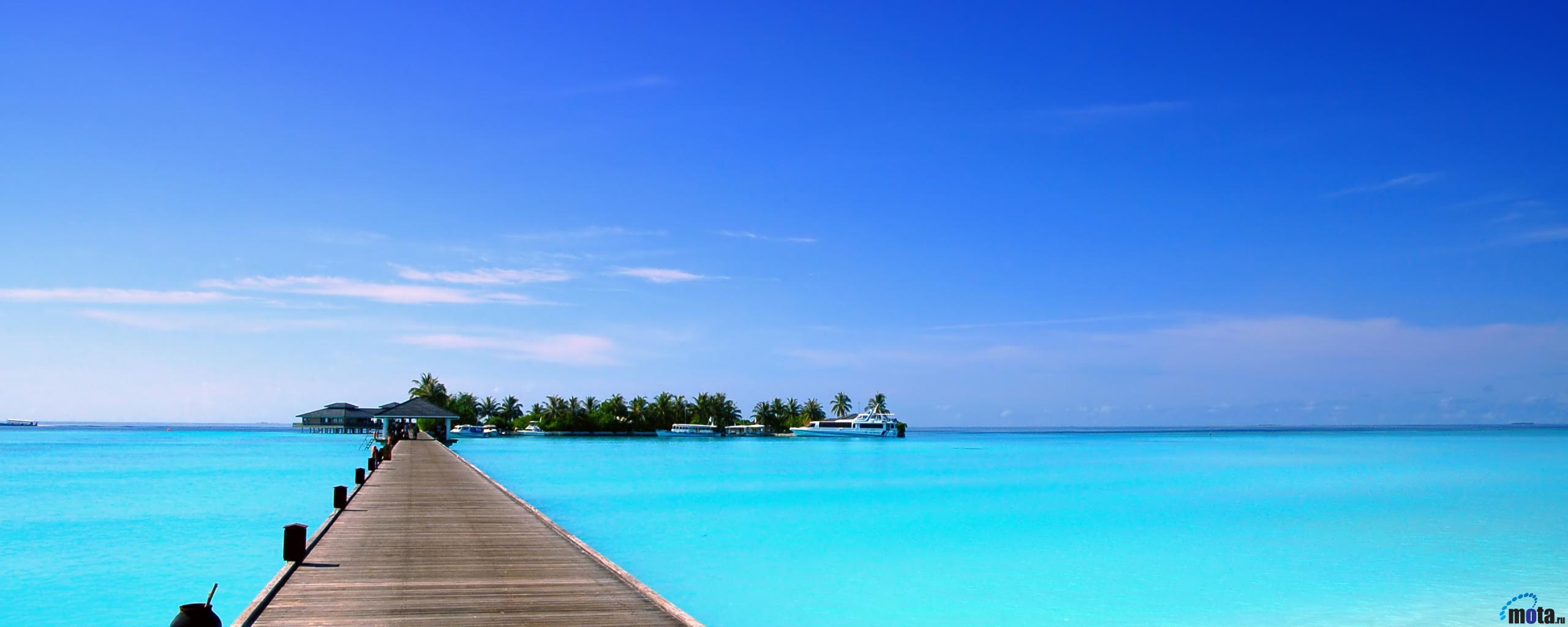 Maldives Tropical Beach Island Hd Wallpaper 793 Wallpaper 2560x1024
