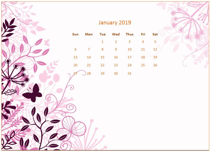 2019 Monthly Floral Calendar Wallpaper 881x635