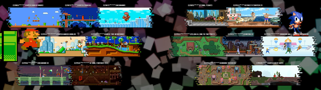 Retro Games   Dual Screen Wallpaper by Ztitus 1280x360