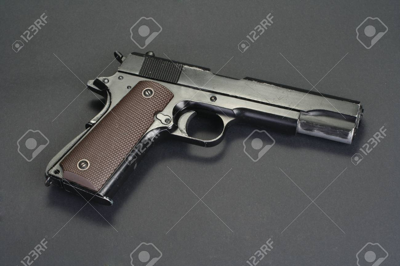 Colt Goverment M1911 On Black Background Stock Photo Picture And 1300x866