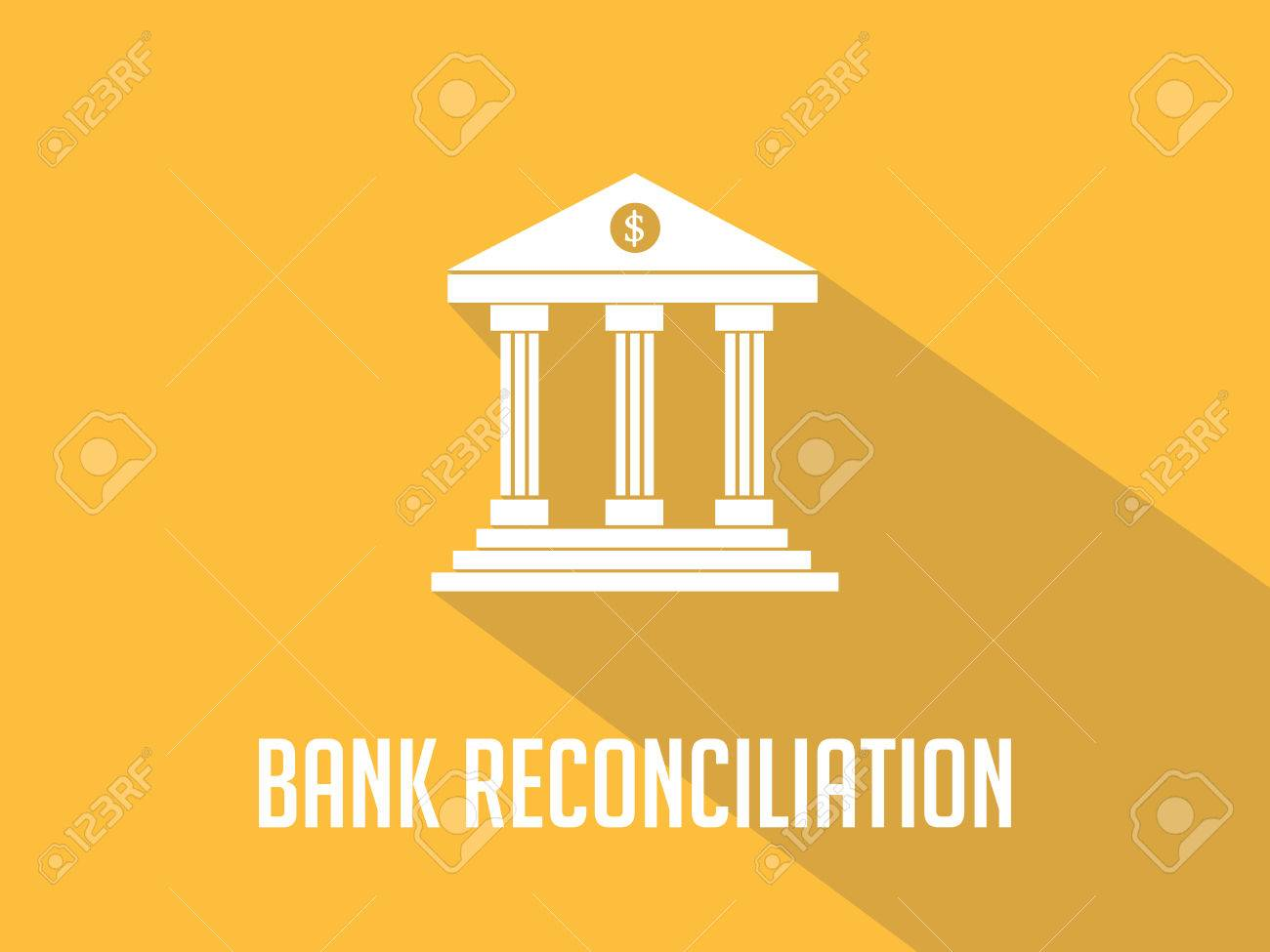 Bank Reconciliation White Text With Bank Office Building 1300x975