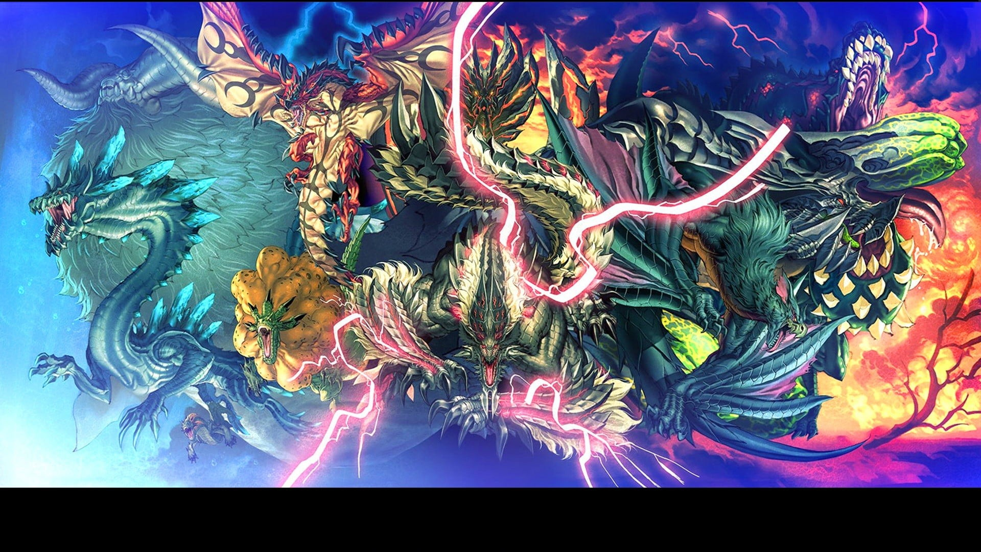 Assorted dragons illustration Monster Hunter Rathalos Lagiacrus 1920x1080