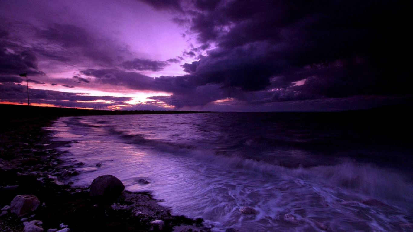 Gallery For gt Purple Beach Sunset Wallpaper 1366x768
