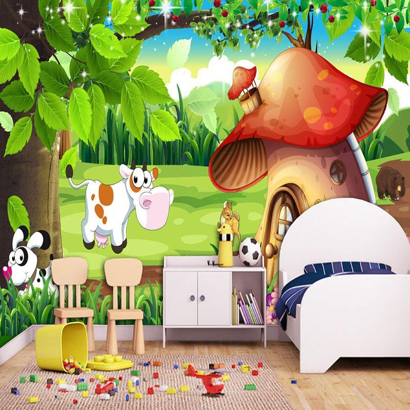 Custom 3D Poster Wallpaper Cartoon Forest Mushroom House Mural 800x800