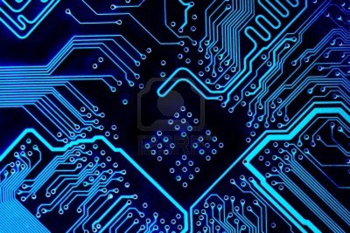blue circuit board wallpaper