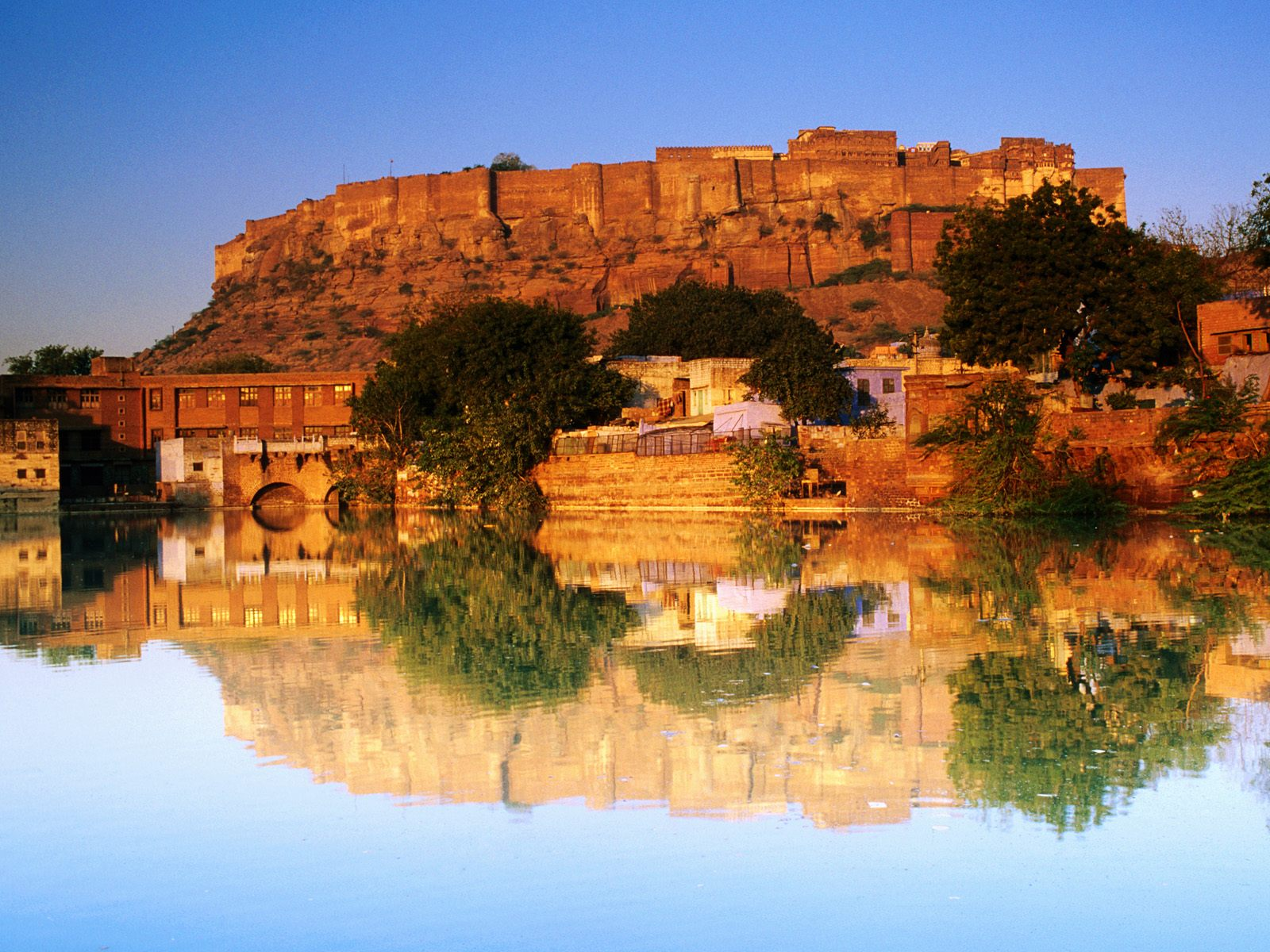 Fort Reflected Sunset India Wallpapers HD Wallpapers 1600x1200