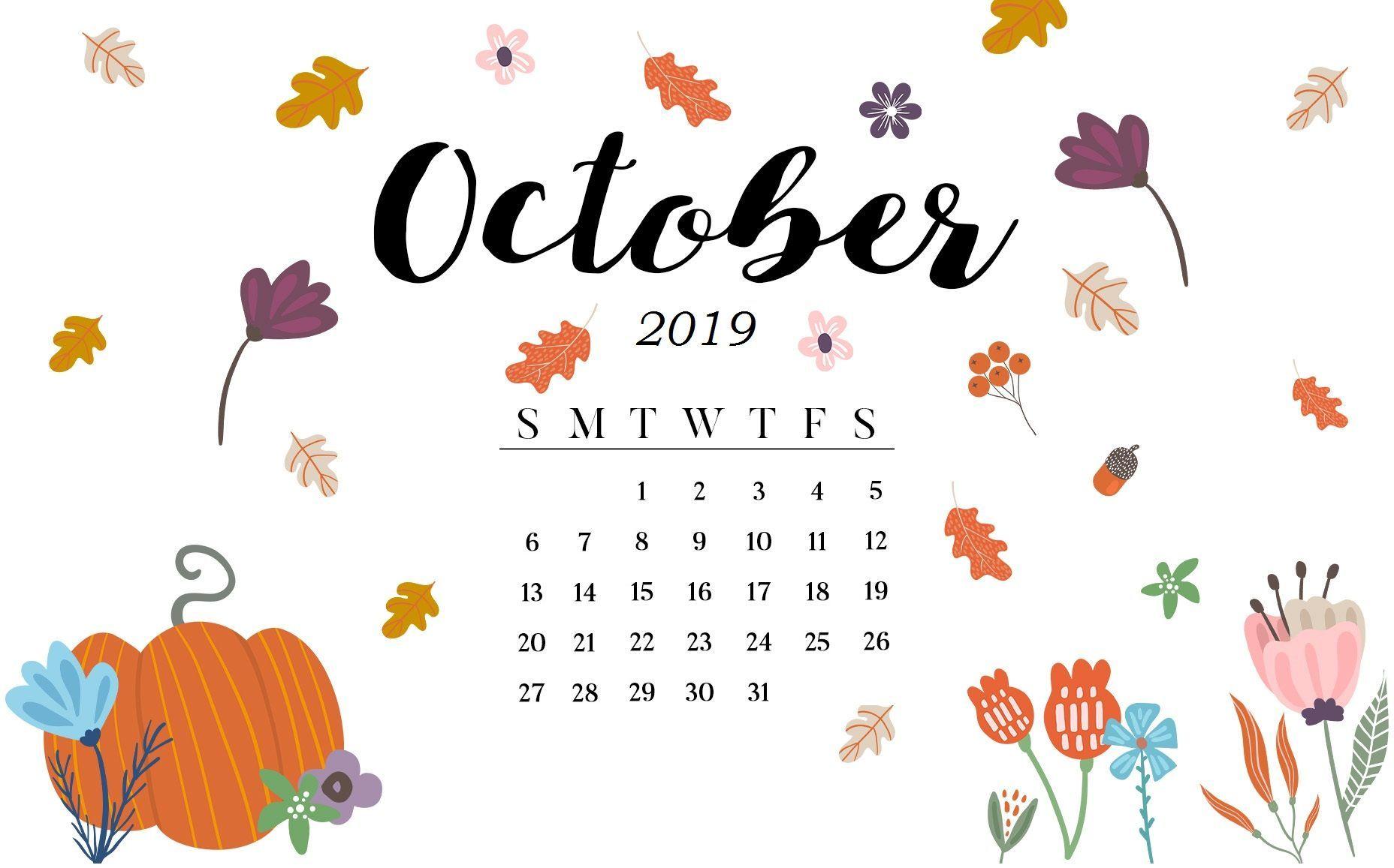 Blank October 2019 Calendar Printable Template Editable 1856x1157