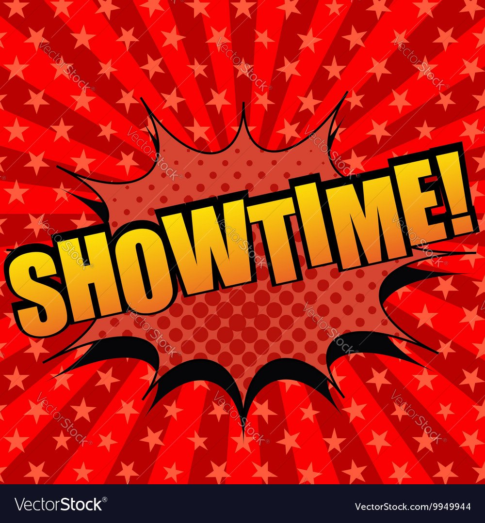 Showtime comic cartoon text Royalty Vector Image 1000x1080