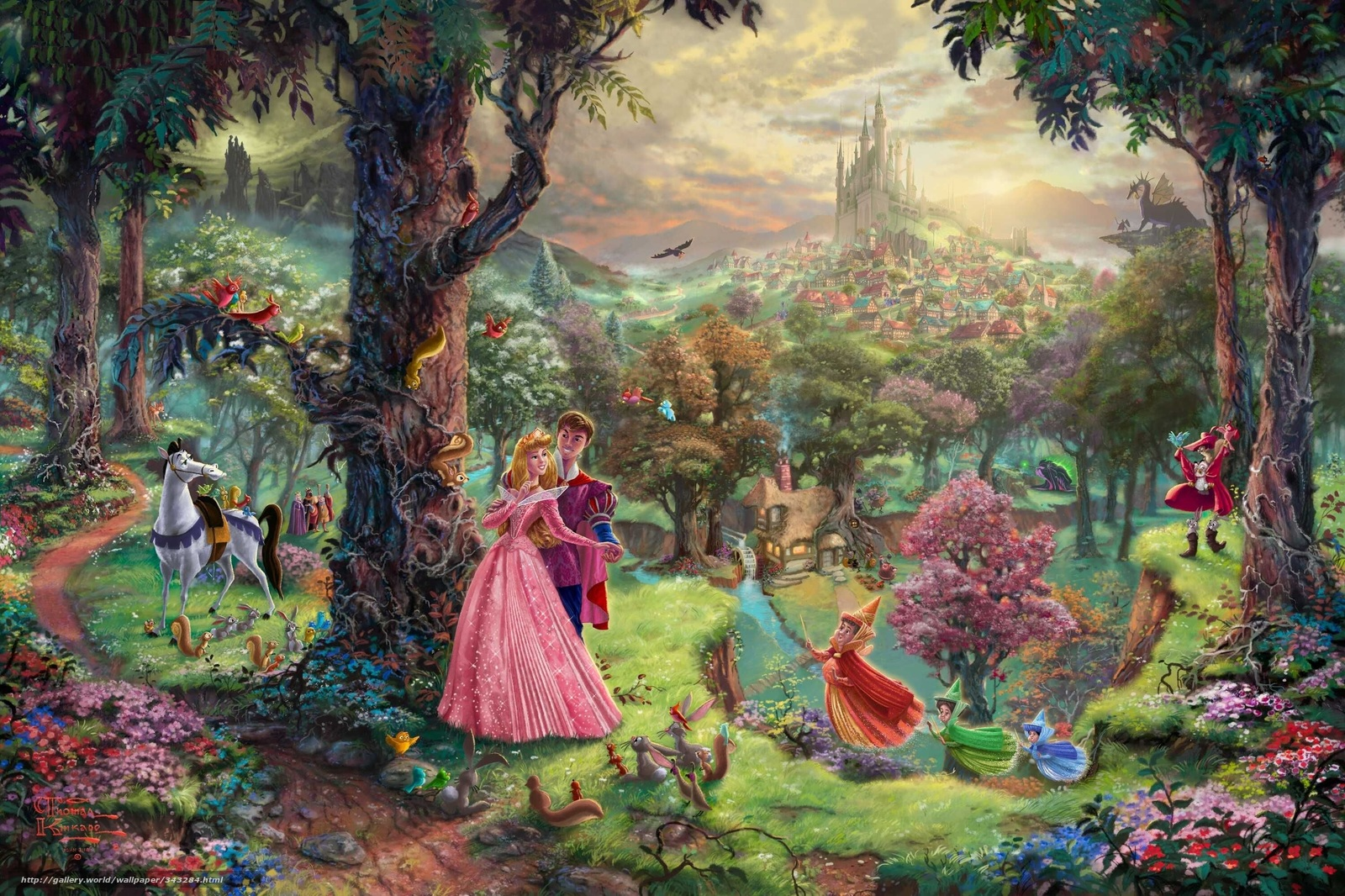 Download wallpaper Thomas Kinkade painting Sleeping 1600x1066