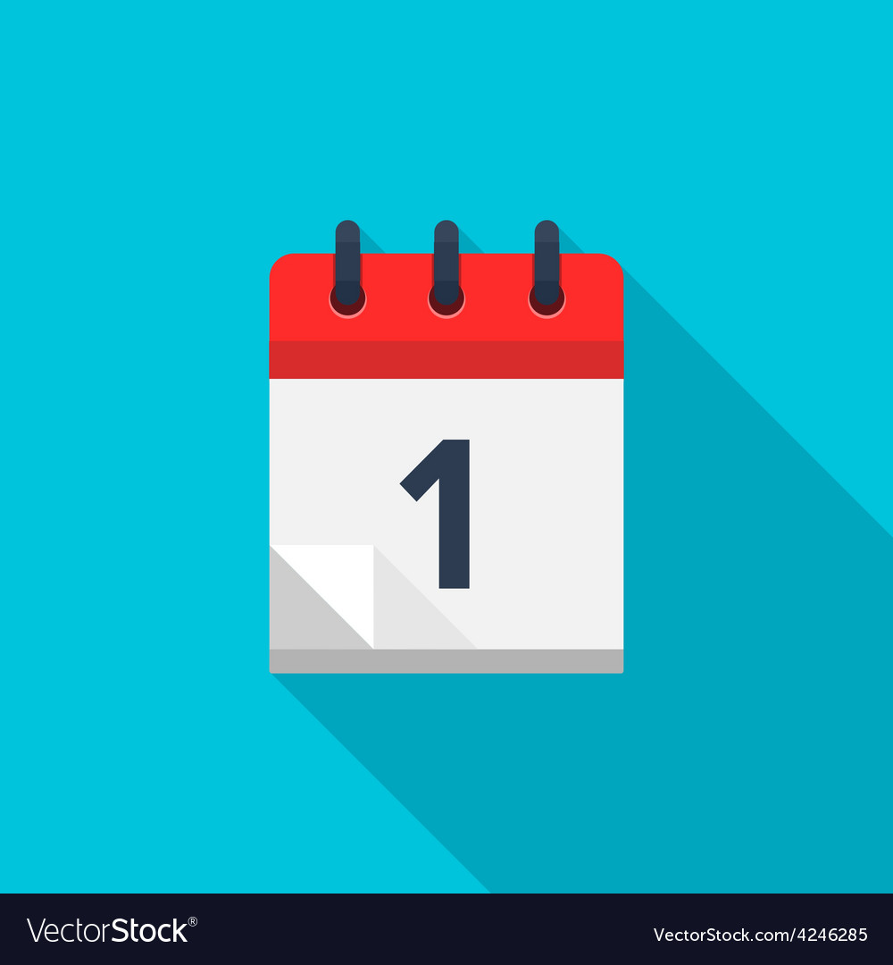 Flat calendar icon Date and time background Vector Image 1000x1080