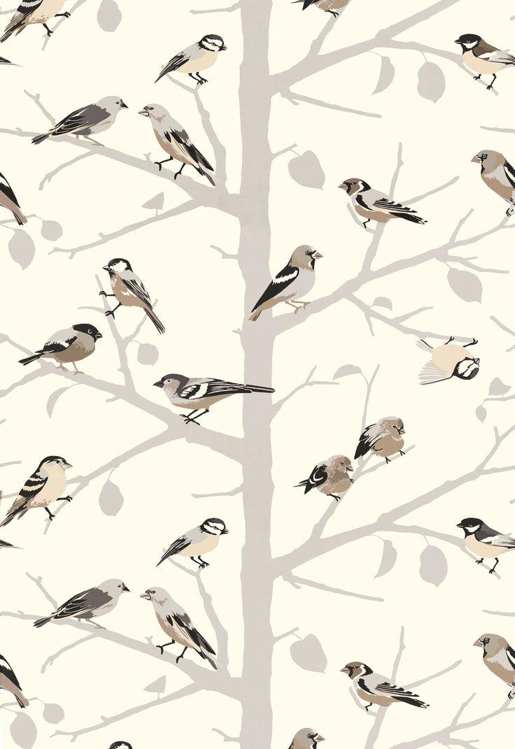 Bird Wallpaper Pattern Bird on branches wallpaper 736x1071