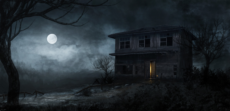 creepy artwork haunted house Wallpapers 2900x1400