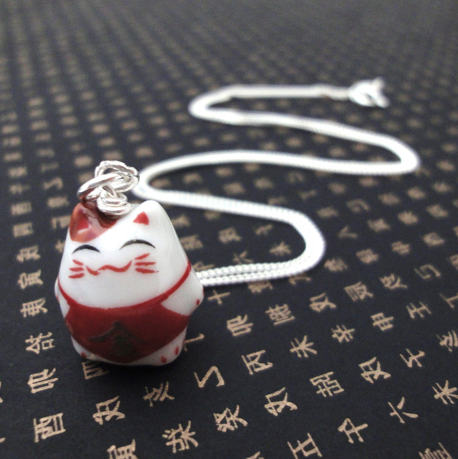 Lucky Cat Charm Necklace   Jin Wealth from Dream of Silver Made By 1535x1537