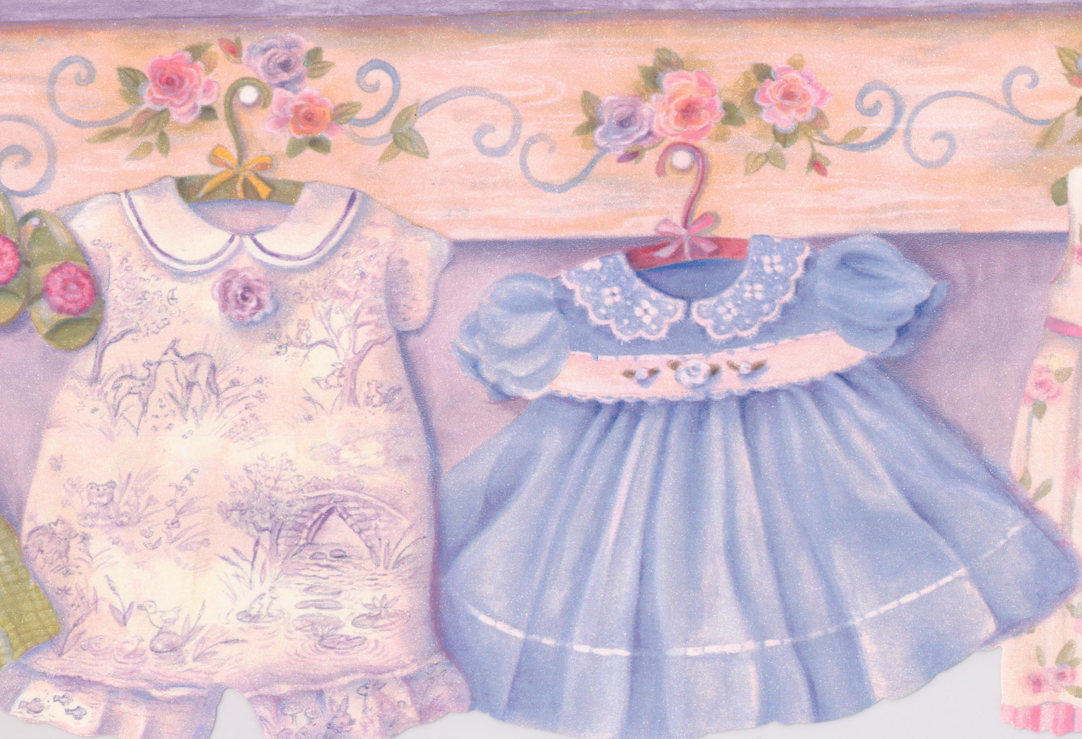 Baby Clothes Kids Wallpaper Border for Cottage Kitchen Bathroom 3673x2508