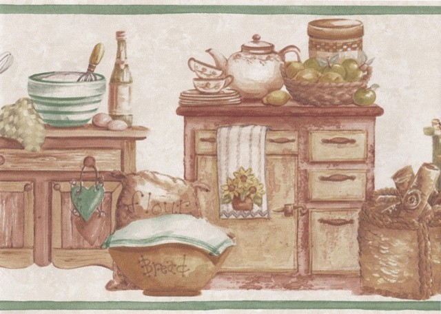 Green Countrystyle Kitchen Wallpaper Border   Traditional   Wallpaper 640x456
