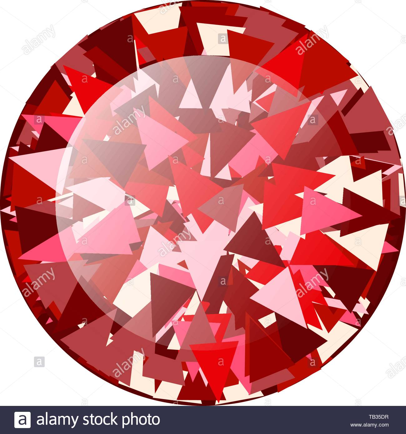 Realistic Red ruby Diamond round isolated on white background 1300x1390