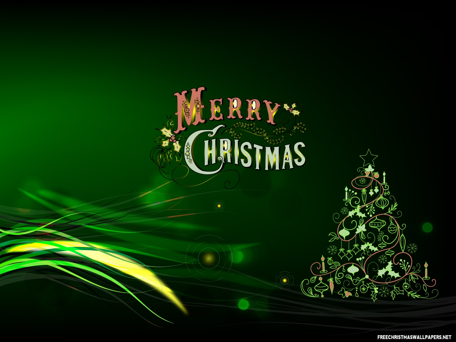 Green Merry Christmas wallpaper - Free Desktop Wallpaper