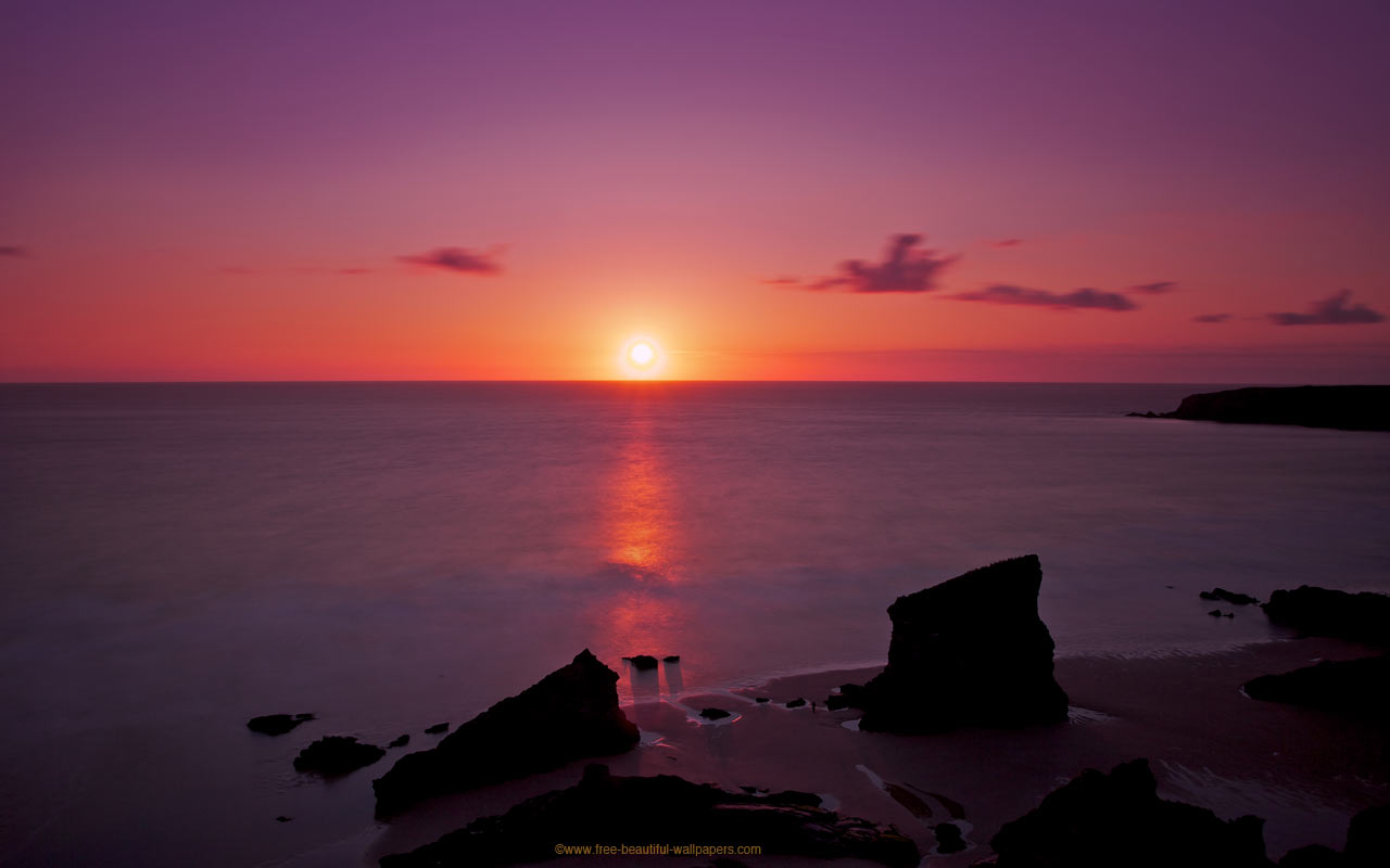 Purple Sunset On The Beach 10141 Hd Wallpapers in Beach   Imagescicom 1280x800