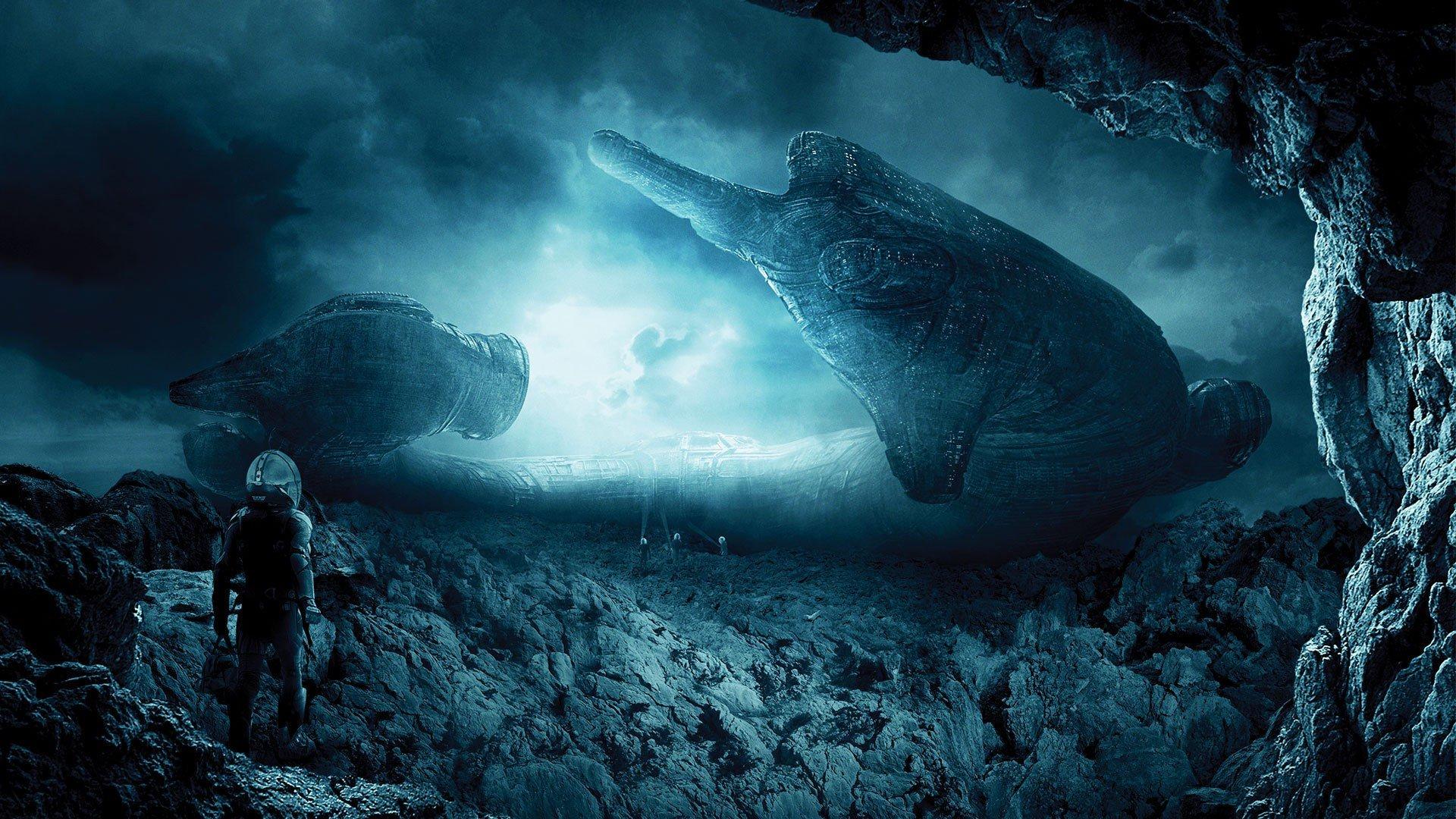 landscape Digital Art Prometheus movie Spaceship 1920x1080