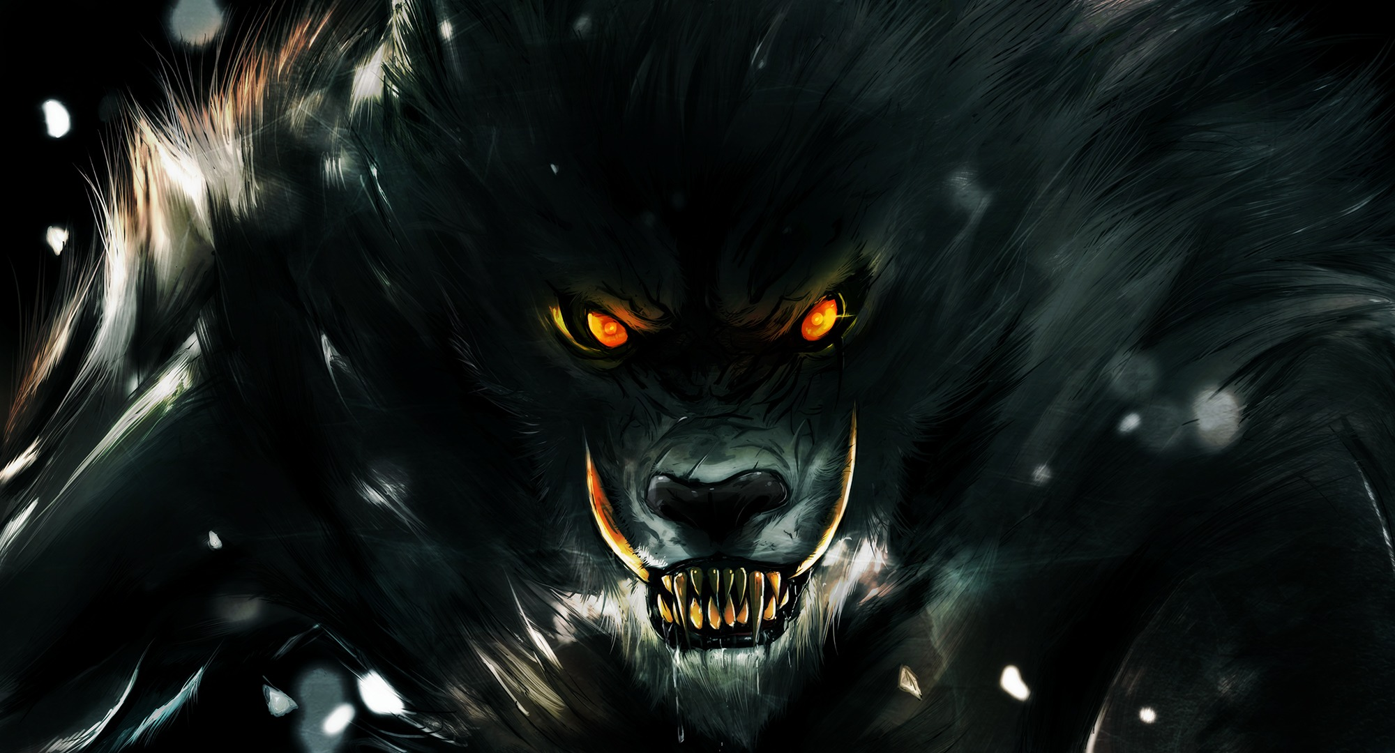 Wallpaper werewolf rage teeth chipped teeth wolf look eyes 2000x1080