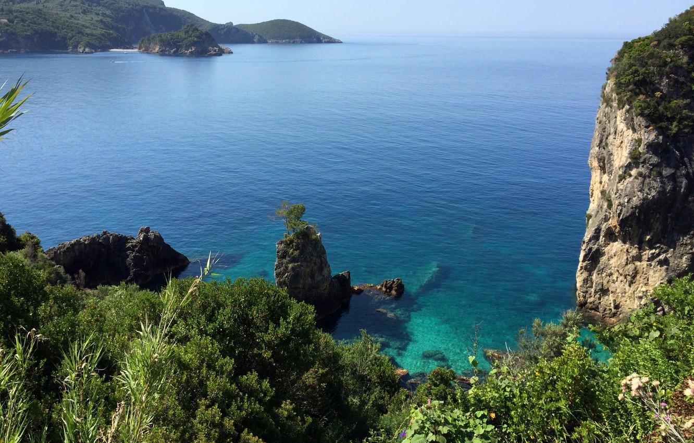Wallpaper sea stones rocks coast Greece horizon Corfu images 1332x850