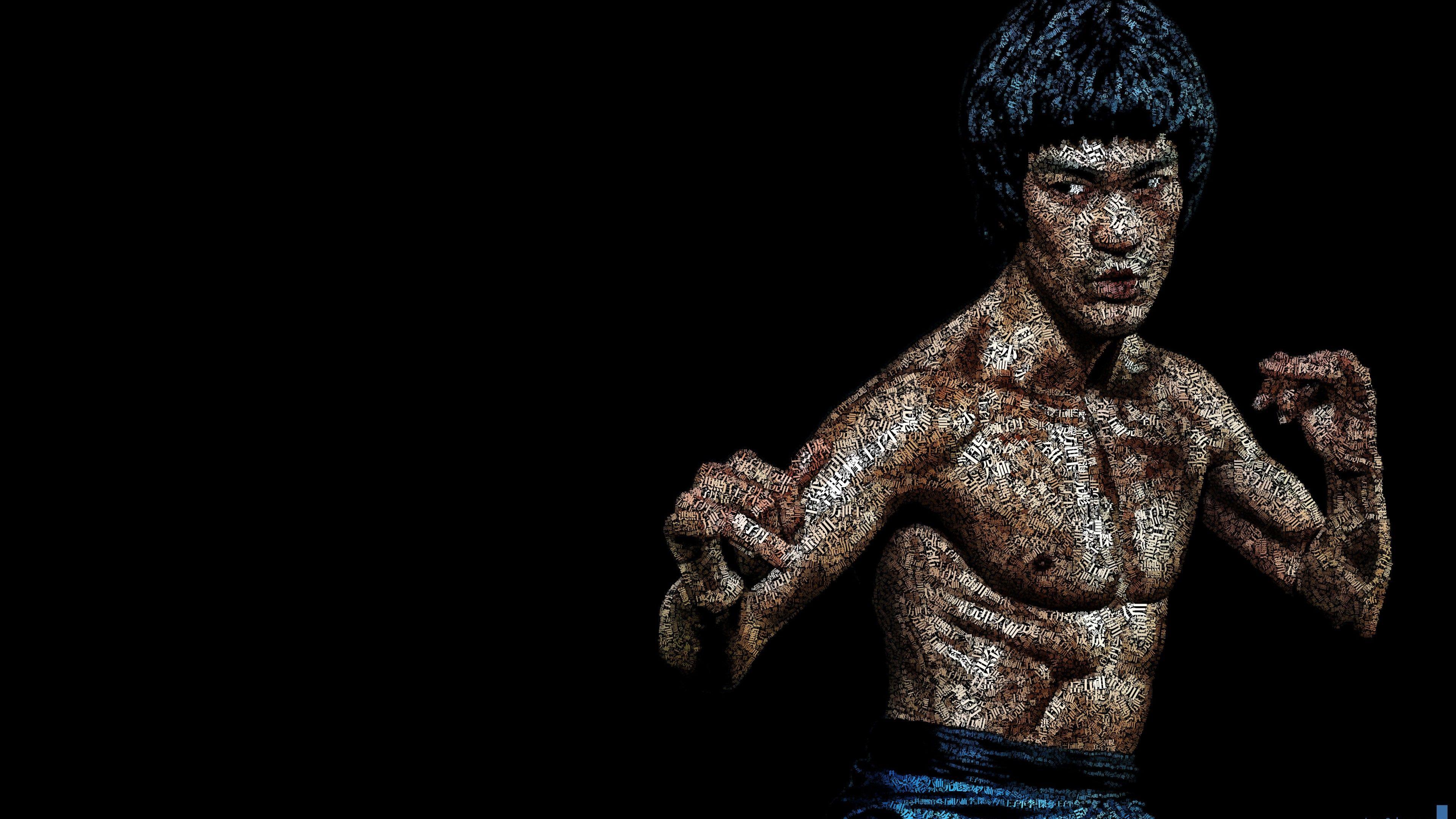 Download Bruce Lee Typographic Art Portrait HD wallpaper for 4K 3840x2160
