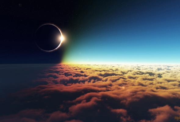 Wallpaper sun moon clouds sky stars eclipse 590x400