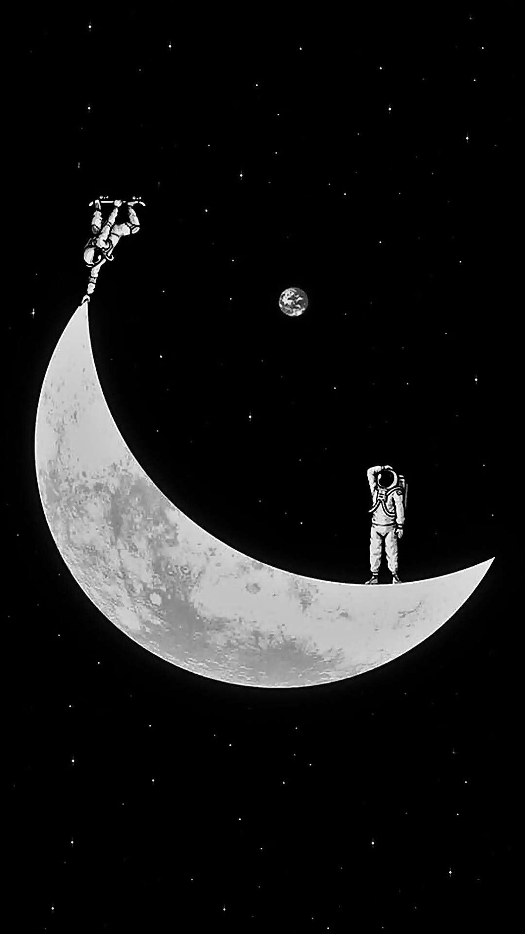 space astronaut skate moon Wallpaper space Android wallpaper 1080x1920