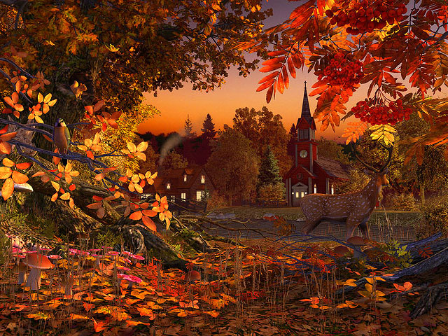 Nature 3D Screensavers   Autumn Wonderland   The fall in the 640x480