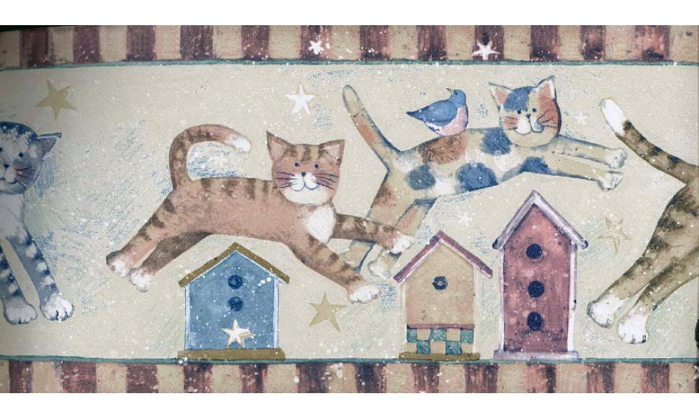 Home CHILDREN Susan Winget Jumpin Cats Wallpaper Border 1000x600
